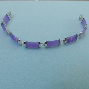 Beautiful Purple & Silver Jade Bracelet
